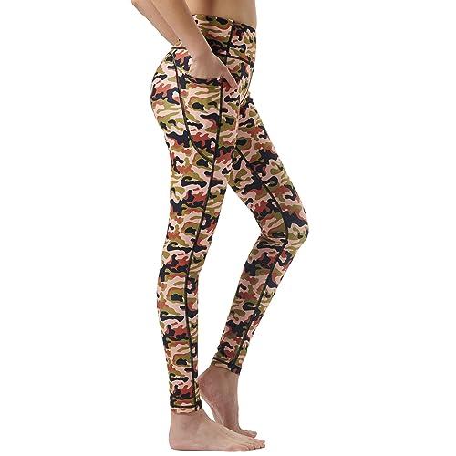 Zeronic Womens High Waist Yoga Pants with Pockets Tummy Control Workout Running 4-Way Stretch Sports Leggings Redblack, X-Large